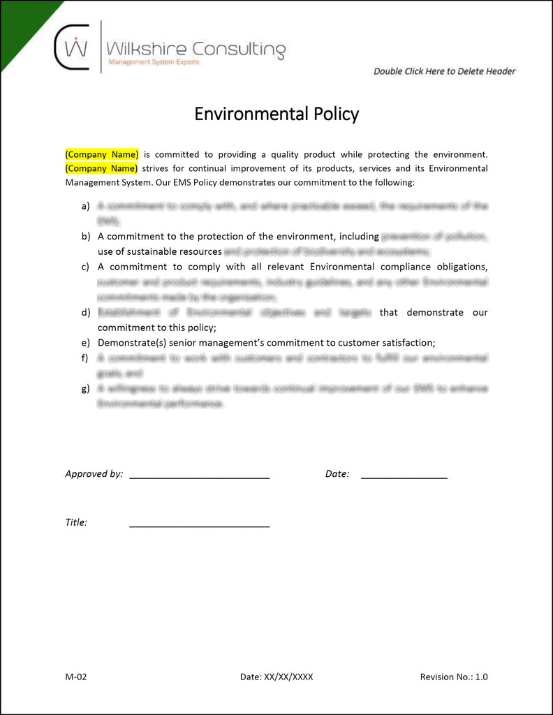 ems manual iso 14001 2015