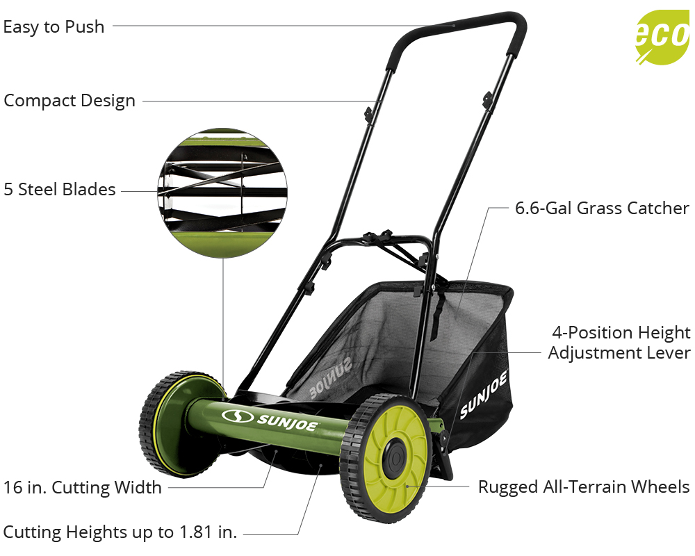 manual reel mower with catcher